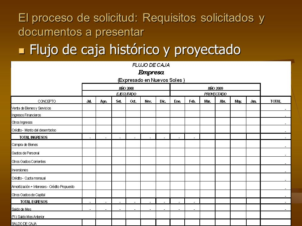 El proceso de solicitud: Requisitos solicitados y documentos a presentar Estados financieros: Estados financieros: Balance General Estado de pérdidas y ganancias Mg.