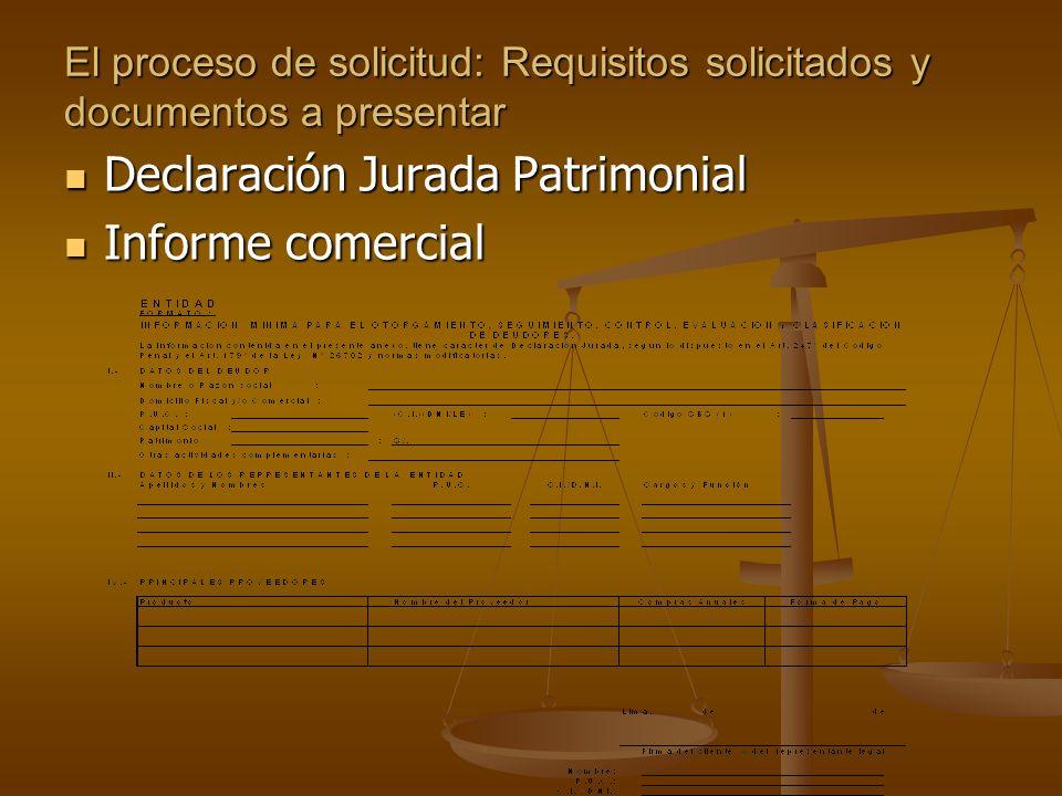 El proceso de solicitud: Requisitos solicitados y documentos a presentar Declaración Jurada Patrimonial Declaración Jurada Patrimonial Informe comercial Informe comercial