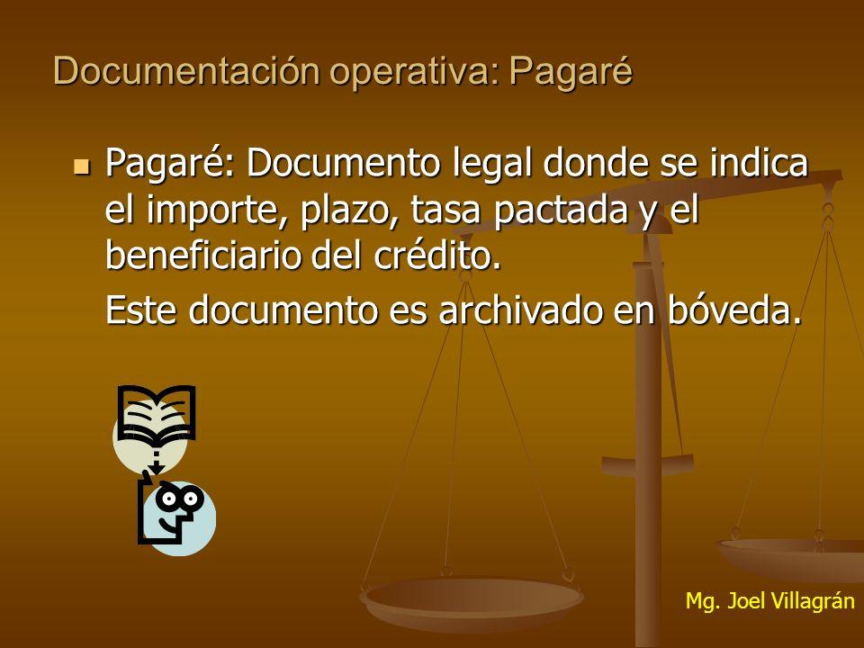 Documentación operativa: Pagaré Pagaré: Documento legal donde se indica el importe, plazo, tasa pactada y el beneficiario del crédito.
