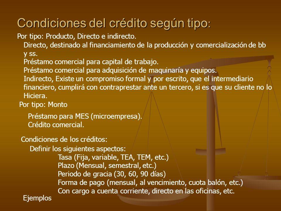 Condiciones del crédito según tipo : Por tipo: Producto, Directo e indirecto.