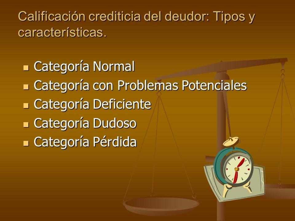 Calificación crediticia del deudor: Tipos y características.