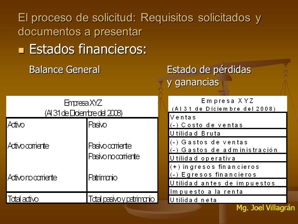 El proceso de solicitud: Requisitos solicitados y documentos a presentar Estados financieros: Estados financieros: Balance General Estado de pérdidas y ganancias Mg.