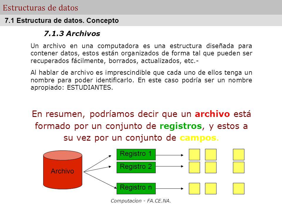 Computacion - FA.CE.NA. Estructuras de datos 7.1.3 Archivos Un archivo en una computadora es una estructura diseñada para contener datos, estos están