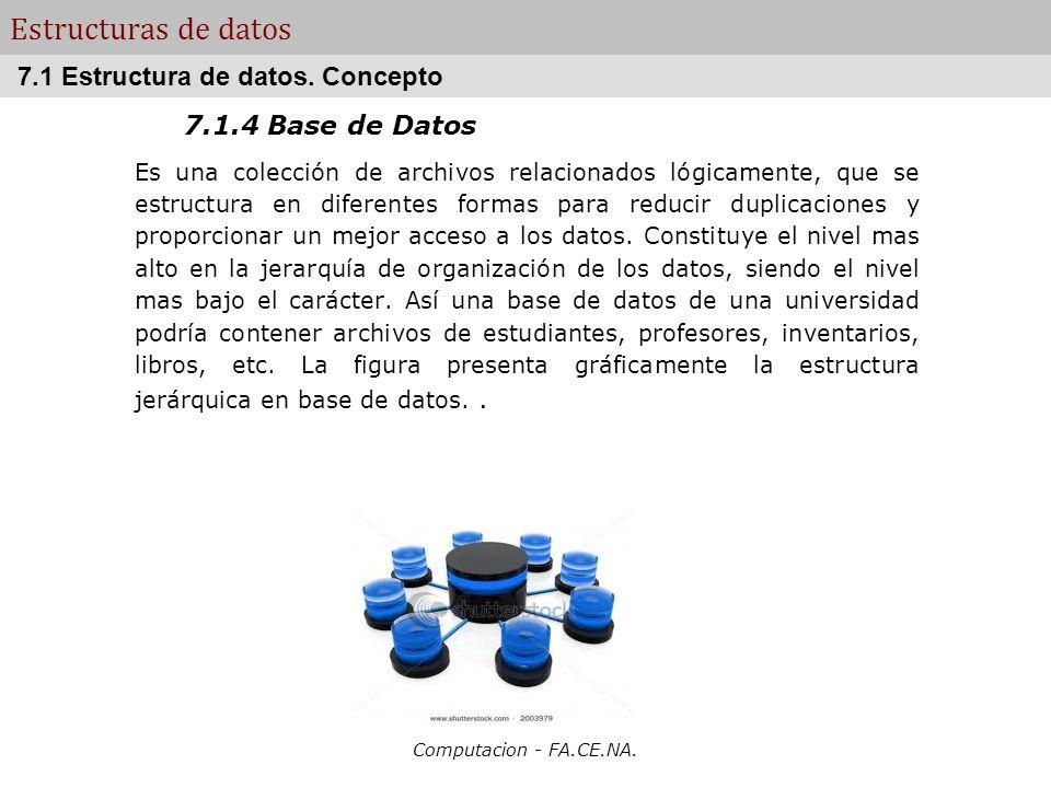 Computacion - FA.CE.NA. Estructuras de datos 7.1.4 Base de Datos Es una colección de archivos relacionados lógicamente, que se estructura en diferente