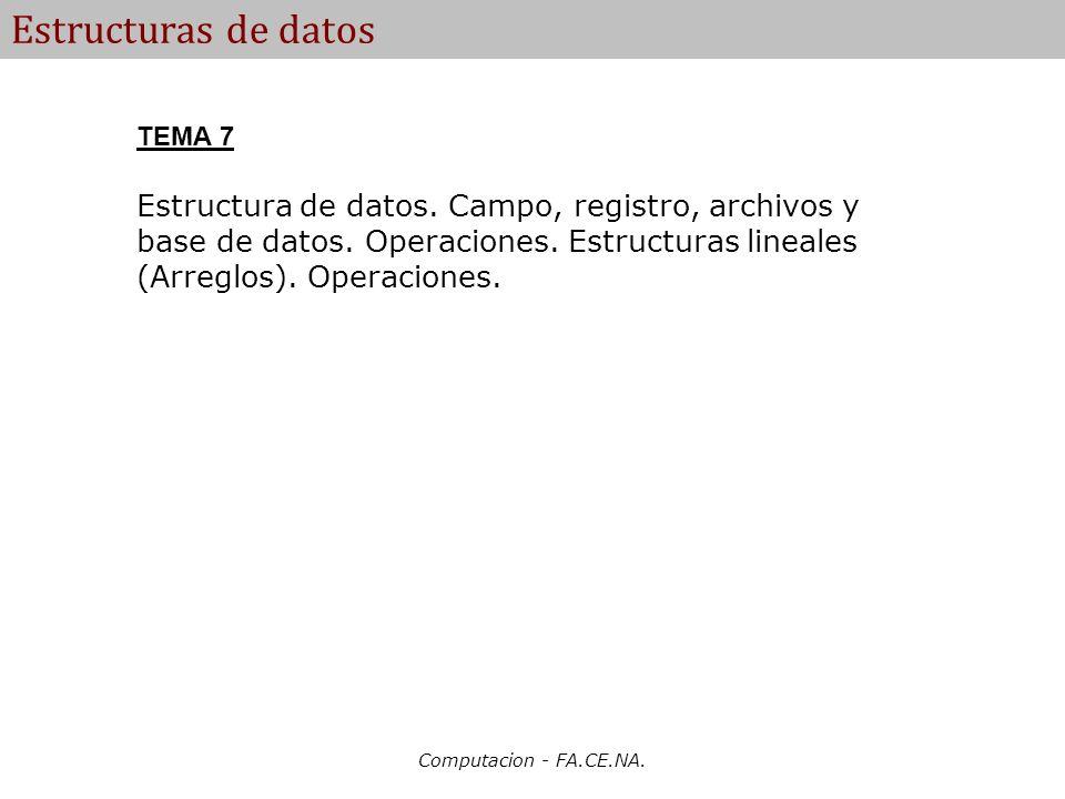 Computacion - FA.CE.NA. Estructuras de datos TEMA 7 Estructura de datos. Campo, registro, archivos y base de datos. Operaciones. Estructuras lineales