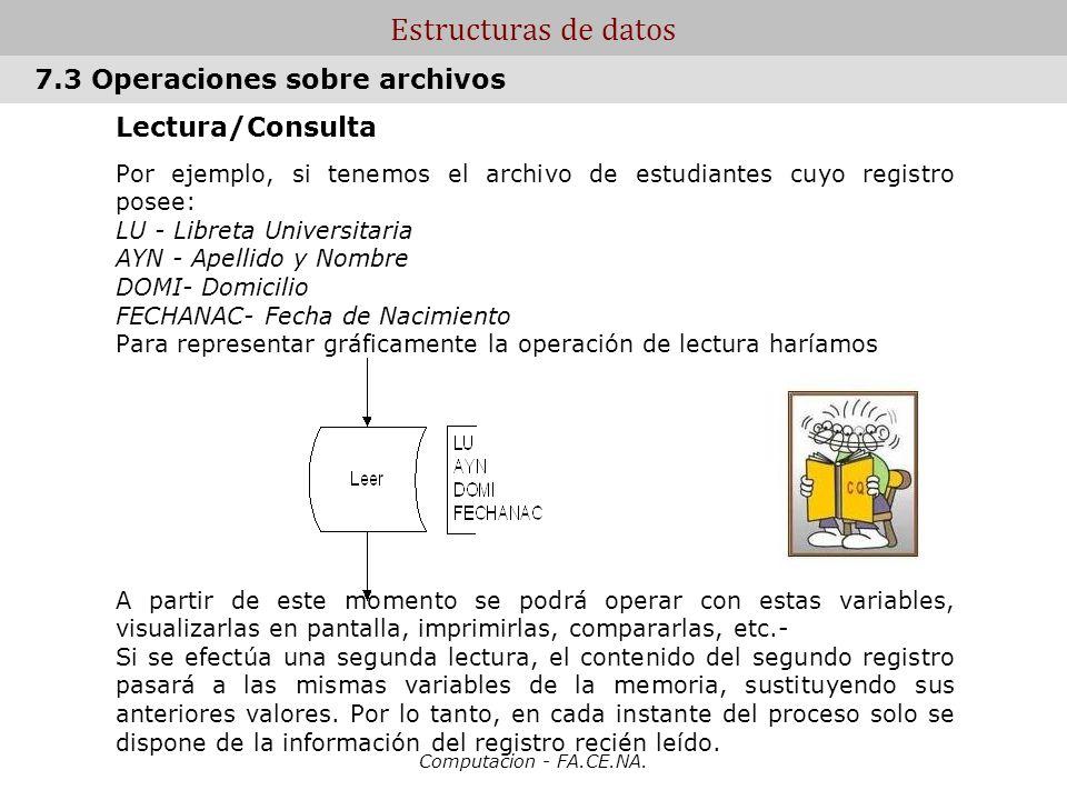 Computacion - FA.CE.NA. Estructuras de datos Lectura/Consulta Por ejemplo, si tenemos el archivo de estudiantes cuyo registro posee: LU - Libreta Univ