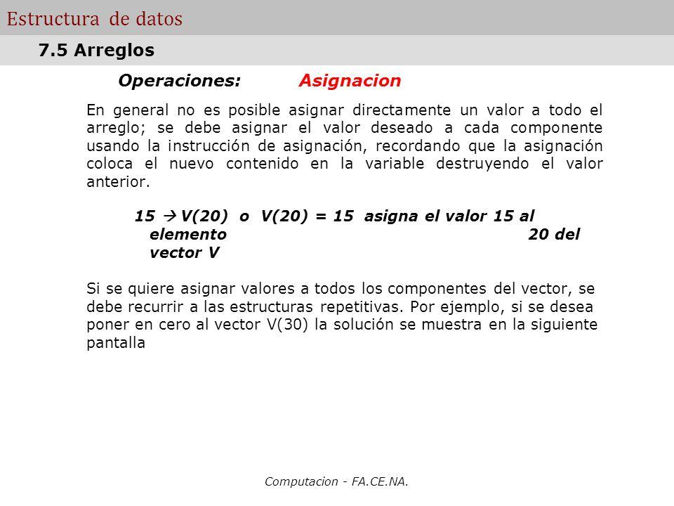 Computacion - FA.CE.NA. Estructura de datos Operaciones: Asignacion En general no es posible asignar directamente un valor a todo el arreglo; se debe
