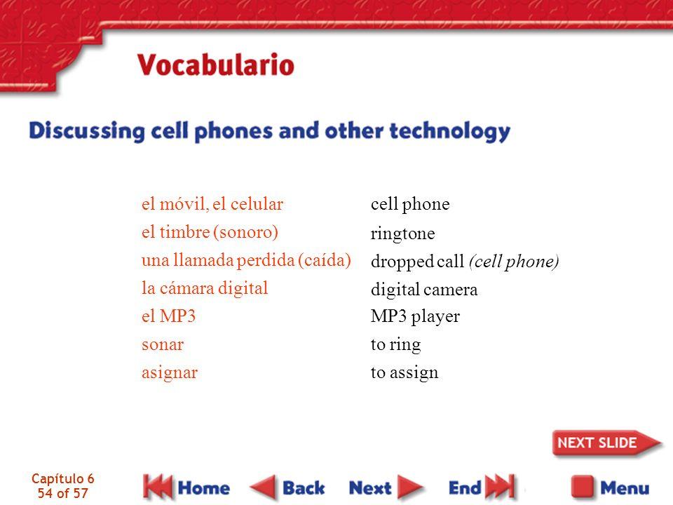 Capítulo 6 54 of 57 el móvil, el celular el timbre (sonoro) una llamada perdida (caída) la cámara digital el MP3 sonar asignar cell phone ringtone dro