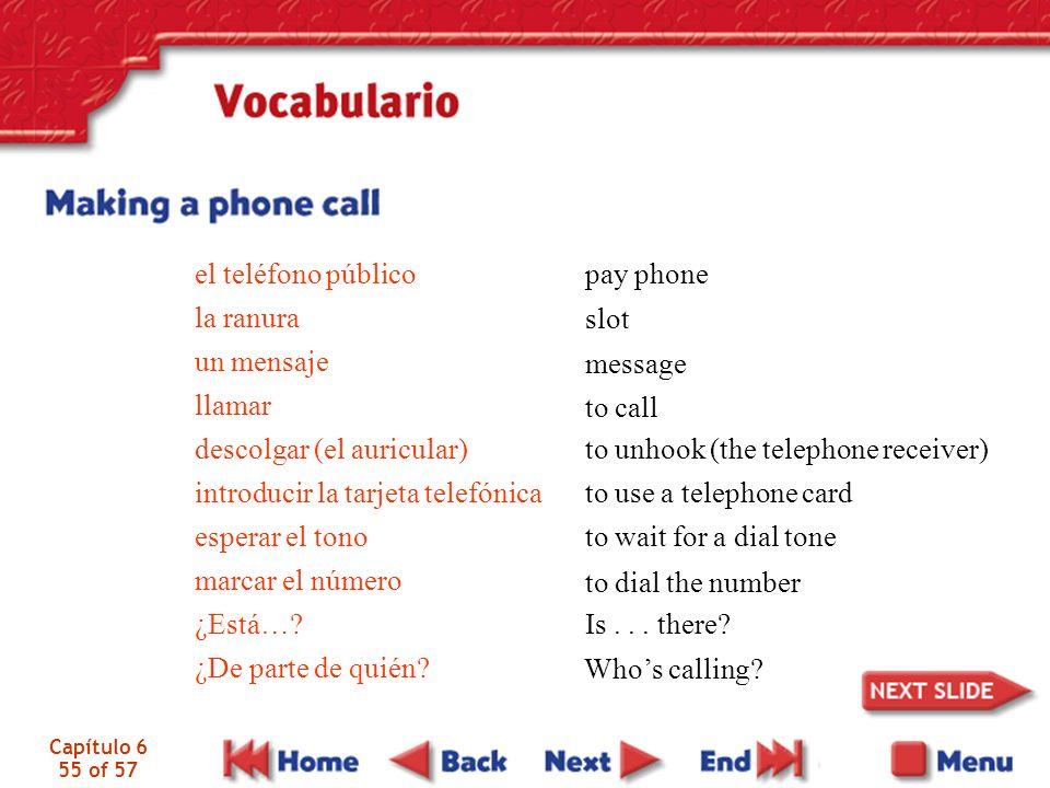 Capítulo 6 55 of 57 el teléfono público la ranura un mensaje llamar descolgar (el auricular) introducir la tarjeta telefónica esperar el tono marcar el número ¿Está….