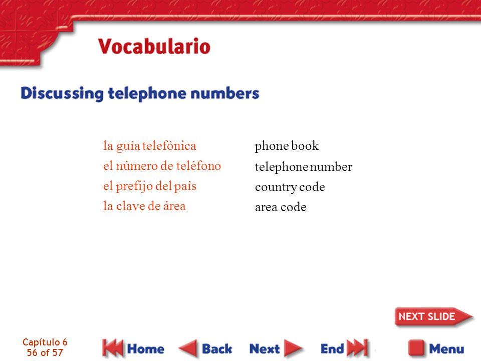 Capítulo 6 56 of 57 la guía telefónica el número de teléfono el prefijo del país la clave de área phone book telephone number country code area code