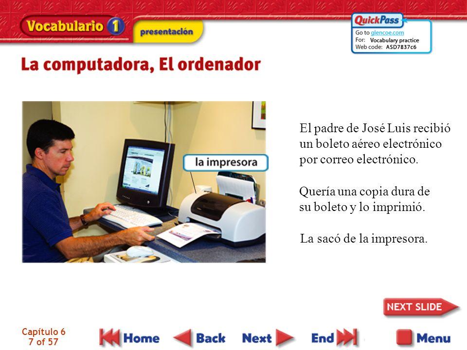 Capítulo 6 7 of 57 El padre de José Luis recibió un boleto aéreo electrónico por correo electrónico. Quería una copia dura de su boleto y lo imprimió.