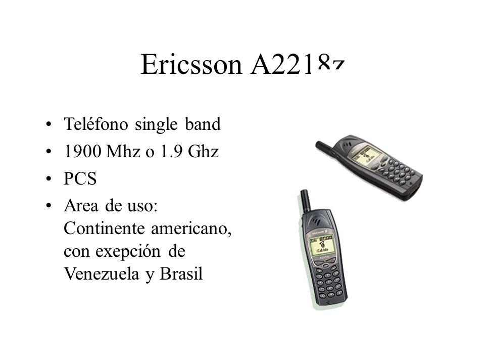 Ericsson A2218z Teléfono single band 1900 Mhz o 1.9 Ghz PCS Area de uso: Continente americano, con exepción de Venezuela y Brasil