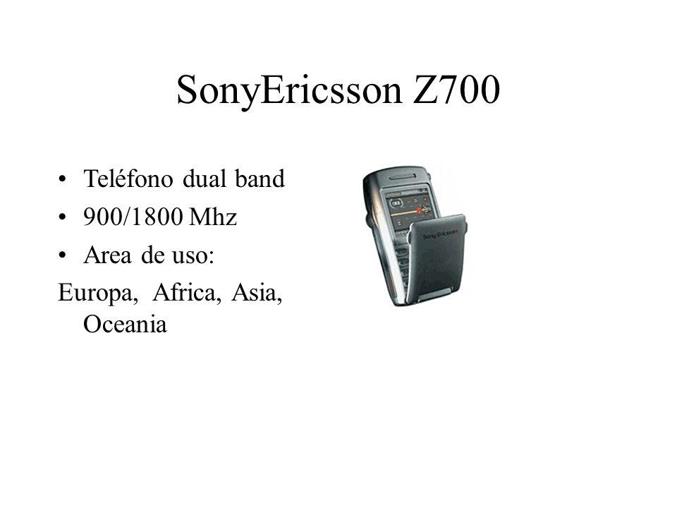 SonyEricsson Z700 Teléfono dual band 900/1800 Mhz Area de uso: Europa, Africa, Asia, Oceania
