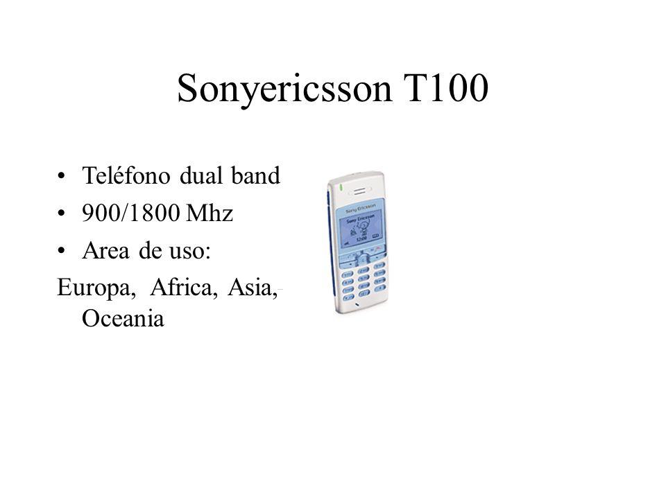 Sonyericsson T100 Teléfono dual band 900/1800 Mhz Area de uso: Europa, Africa, Asia, Oceania
