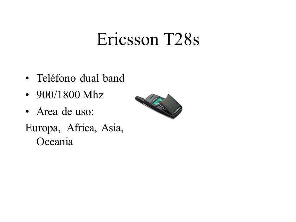 Ericsson T28s Teléfono dual band 900/1800 Mhz Area de uso: Europa, Africa, Asia, Oceania