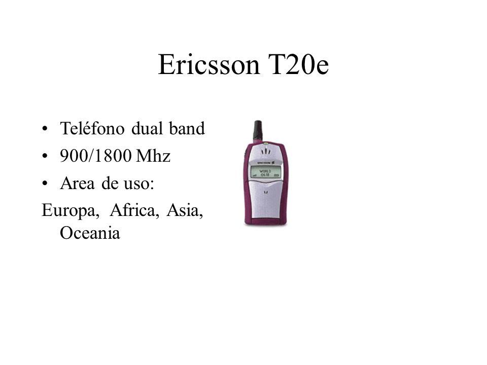 Ericsson T20e Teléfono dual band 900/1800 Mhz Area de uso: Europa, Africa, Asia, Oceania