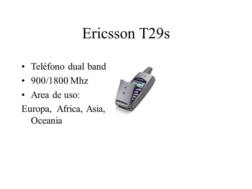 Ericsson T29s Teléfono dual band 900/1800 Mhz Area de uso: Europa, Africa, Asia, Oceania