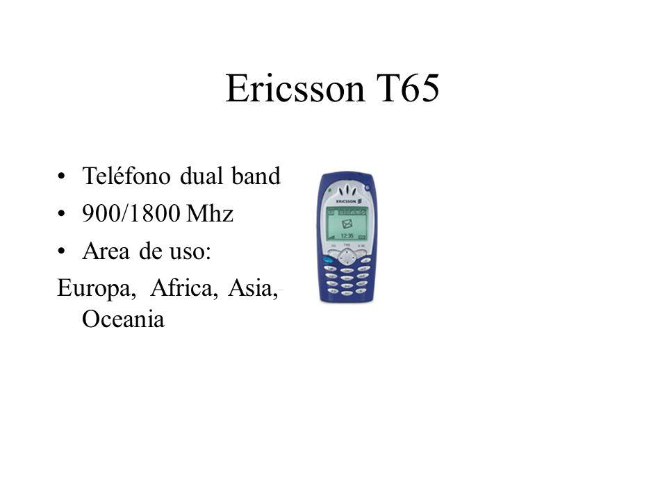 Ericsson T65 Teléfono dual band 900/1800 Mhz Area de uso: Europa, Africa, Asia, Oceania