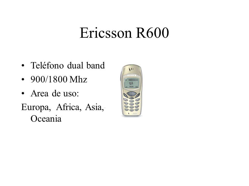 Ericsson R600 Teléfono dual band 900/1800 Mhz Area de uso: Europa, Africa, Asia, Oceania