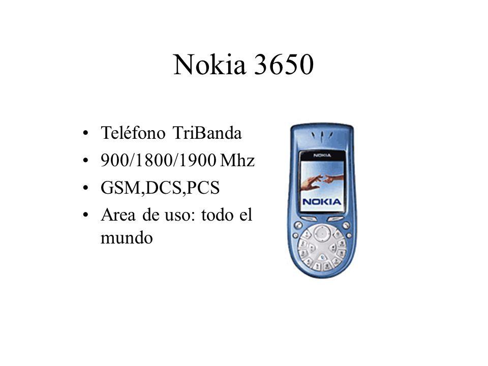 Nokia 3650 Teléfono TriBanda 900/1800/1900 Mhz GSM,DCS,PCS Area de uso: todo el mundo