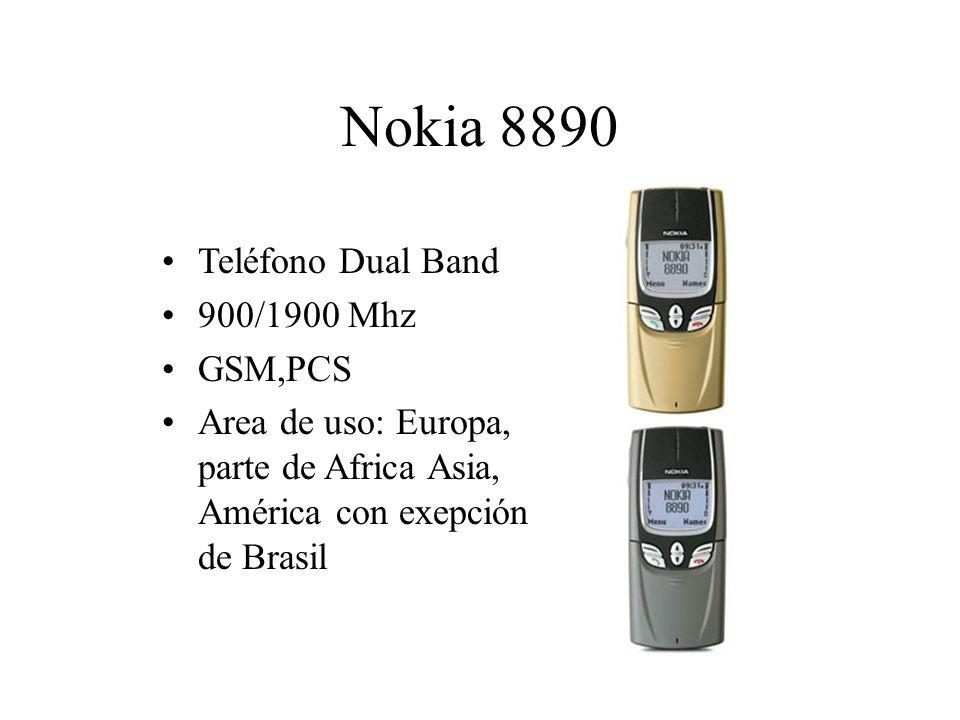 Nokia 8890 Teléfono Dual Band 900/1900 Mhz GSM,PCS Area de uso: Europa, parte de Africa Asia, América con exepción de Brasil