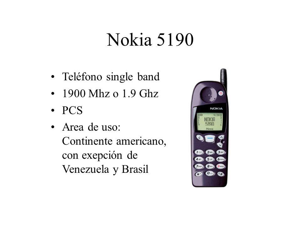 Nokia 5190 Teléfono single band 1900 Mhz o 1.9 Ghz PCS Area de uso: Continente americano, con exepción de Venezuela y Brasil
