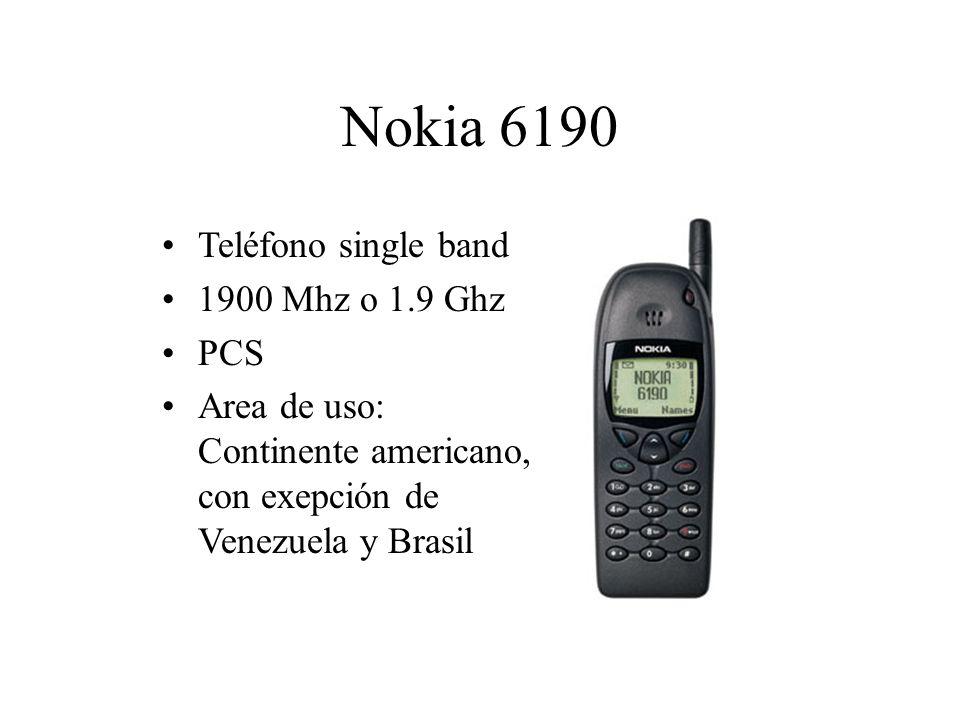Nokia 6190 Teléfono single band 1900 Mhz o 1.9 Ghz PCS Area de uso: Continente americano, con exepción de Venezuela y Brasil