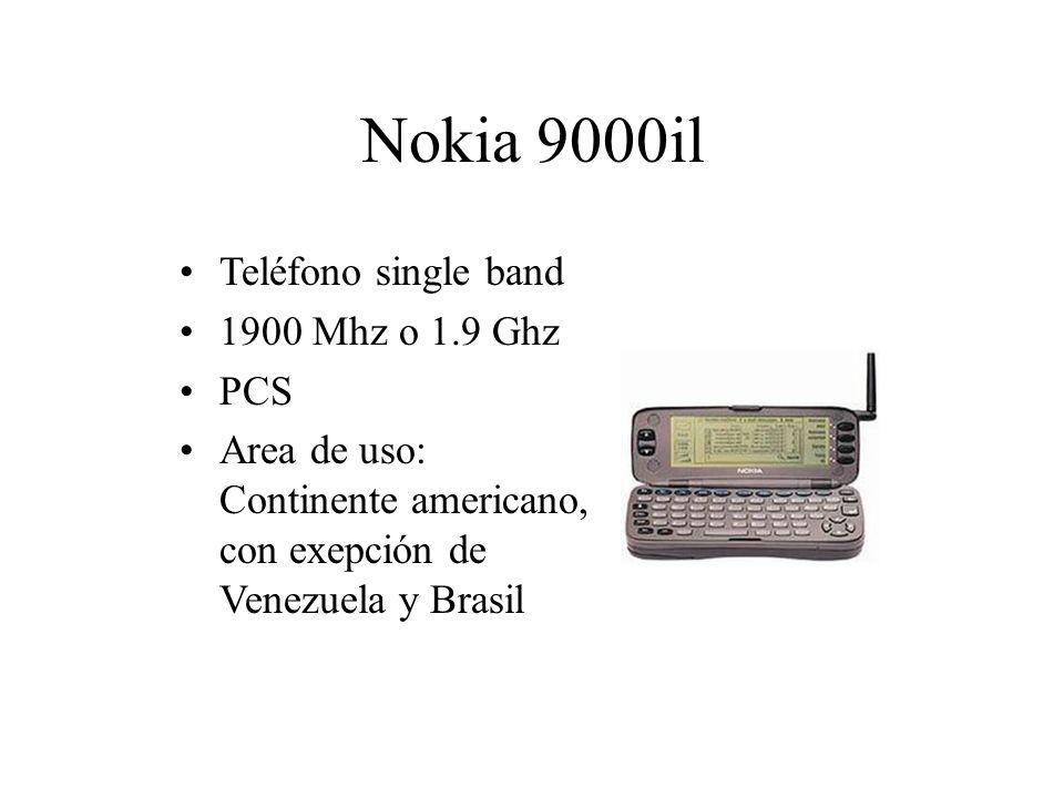 Nokia 9000il Teléfono single band 1900 Mhz o 1.9 Ghz PCS Area de uso: Continente americano, con exepción de Venezuela y Brasil