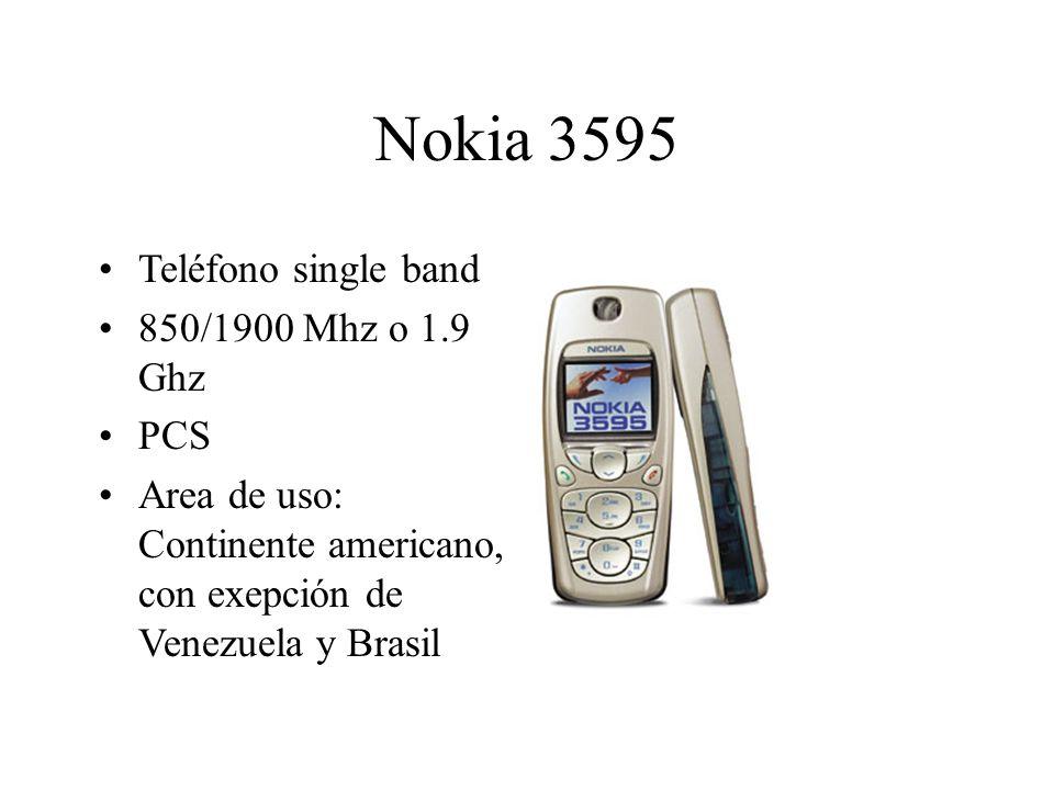 Nokia 3595 Teléfono single band 850/1900 Mhz o 1.9 Ghz PCS Area de uso: Continente americano, con exepción de Venezuela y Brasil
