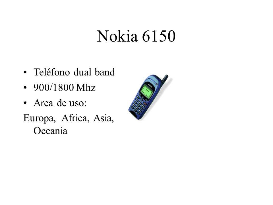 Nokia 6150 Teléfono dual band 900/1800 Mhz Area de uso: Europa, Africa, Asia, Oceania