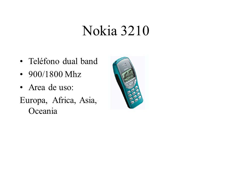 Nokia 3210 Teléfono dual band 900/1800 Mhz Area de uso: Europa, Africa, Asia, Oceania