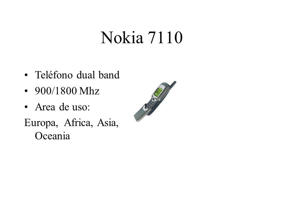 Nokia 7110 Teléfono dual band 900/1800 Mhz Area de uso: Europa, Africa, Asia, Oceania