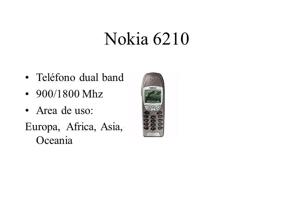 Nokia 6210 Teléfono dual band 900/1800 Mhz Area de uso: Europa, Africa, Asia, Oceania