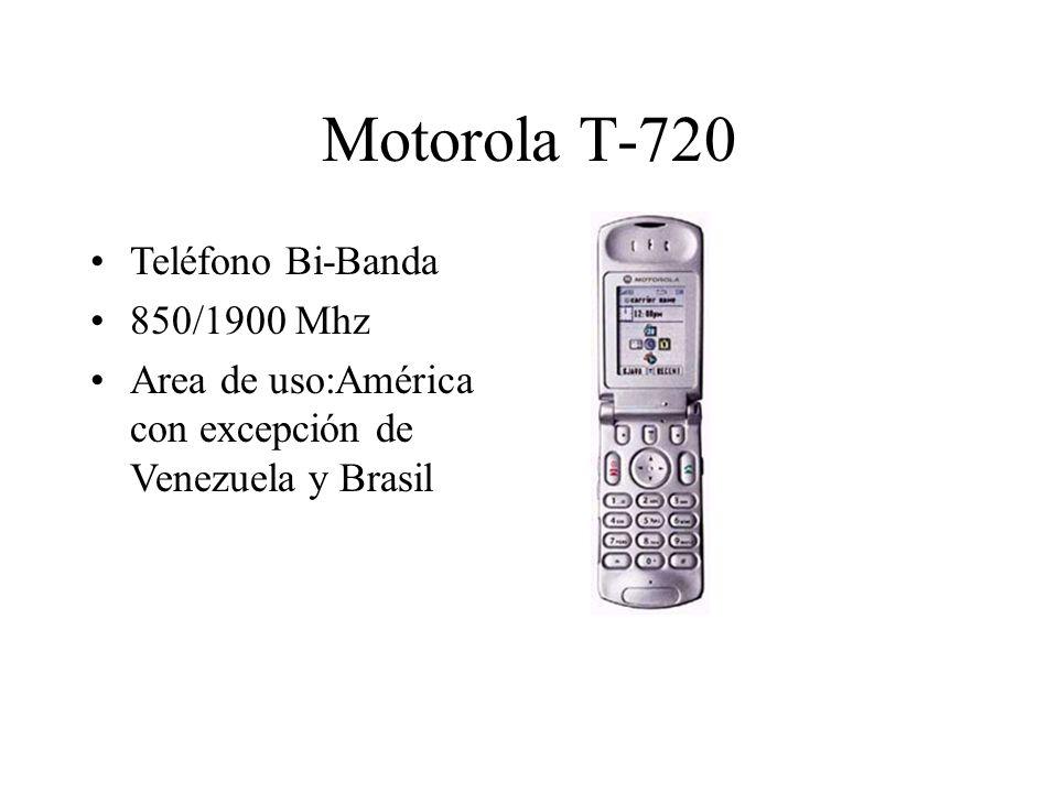 Motorola T-720 Teléfono Bi-Banda 850/1900 Mhz Area de uso:América con excepción de Venezuela y Brasil
