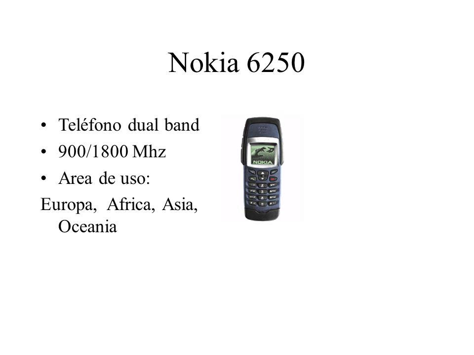 Nokia 6250 Teléfono dual band 900/1800 Mhz Area de uso: Europa, Africa, Asia, Oceania