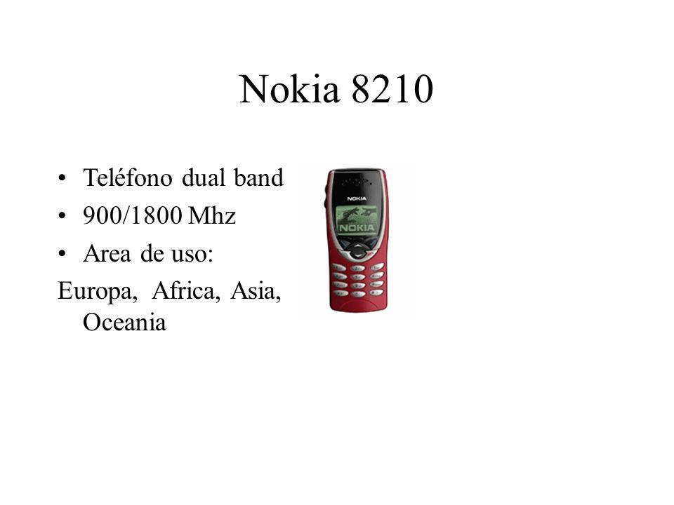Nokia 8210 Teléfono dual band 900/1800 Mhz Area de uso: Europa, Africa, Asia, Oceania