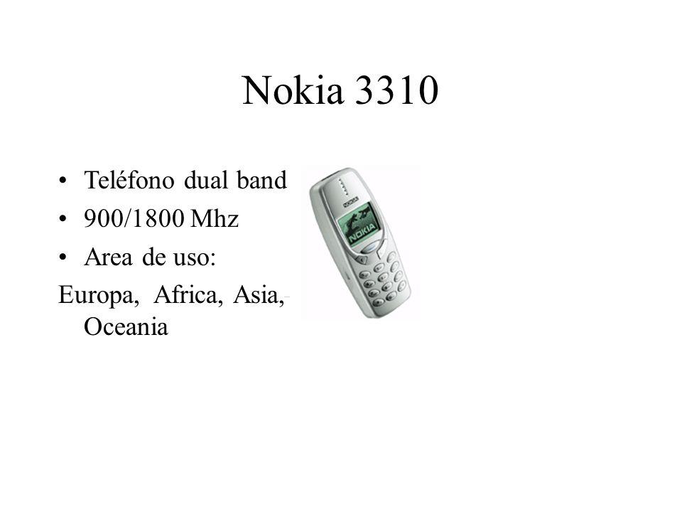 Nokia 3310 Teléfono dual band 900/1800 Mhz Area de uso: Europa, Africa, Asia, Oceania
