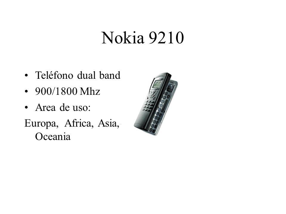 Nokia 9210 Teléfono dual band 900/1800 Mhz Area de uso: Europa, Africa, Asia, Oceania