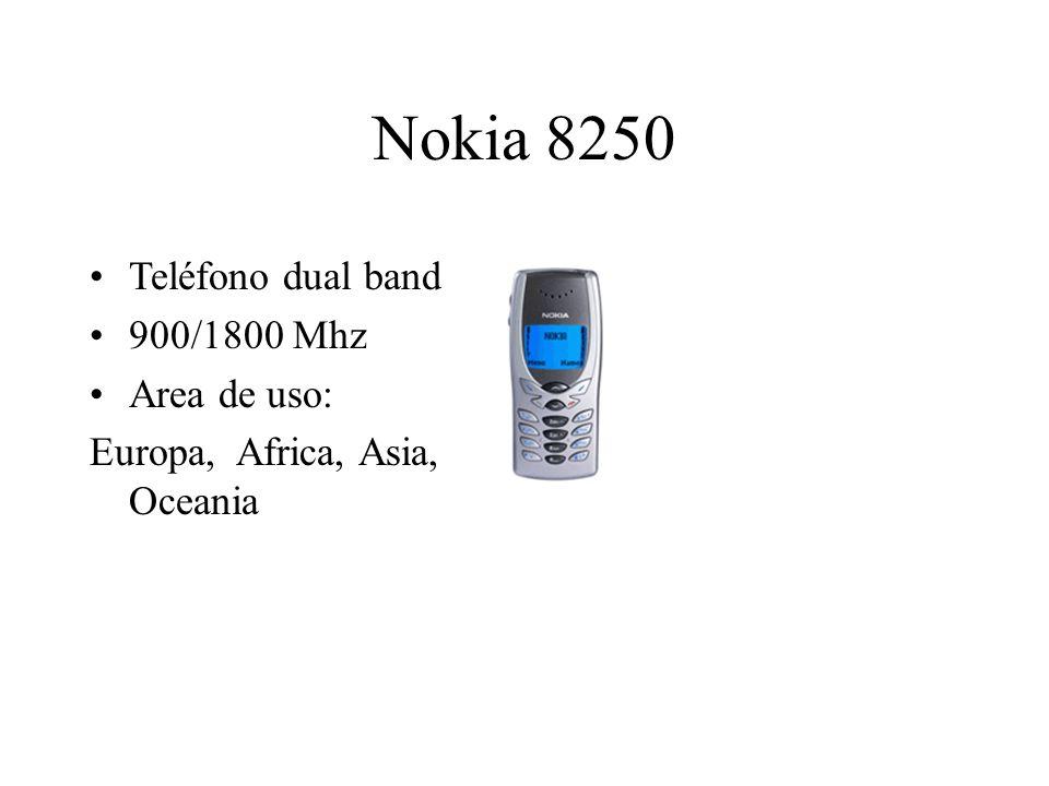 Nokia 8250 Teléfono dual band 900/1800 Mhz Area de uso: Europa, Africa, Asia, Oceania