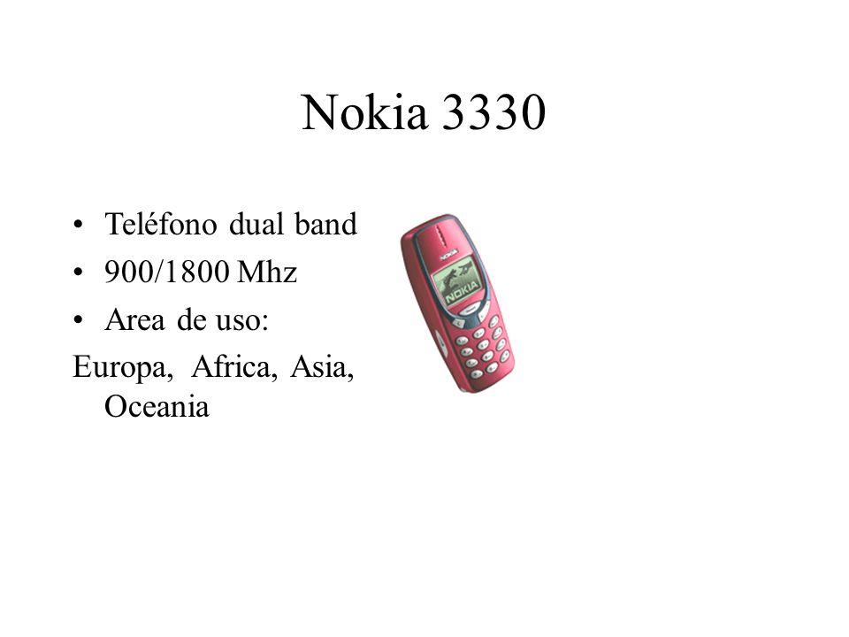 Nokia 3330 Teléfono dual band 900/1800 Mhz Area de uso: Europa, Africa, Asia, Oceania