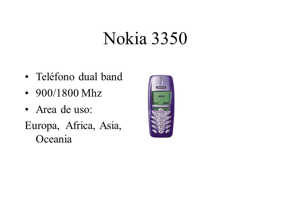 Nokia 3350 Teléfono dual band 900/1800 Mhz Area de uso: Europa, Africa, Asia, Oceania
