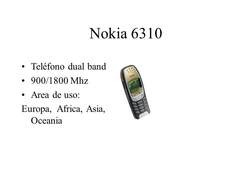 Nokia 6310 Teléfono dual band 900/1800 Mhz Area de uso: Europa, Africa, Asia, Oceania