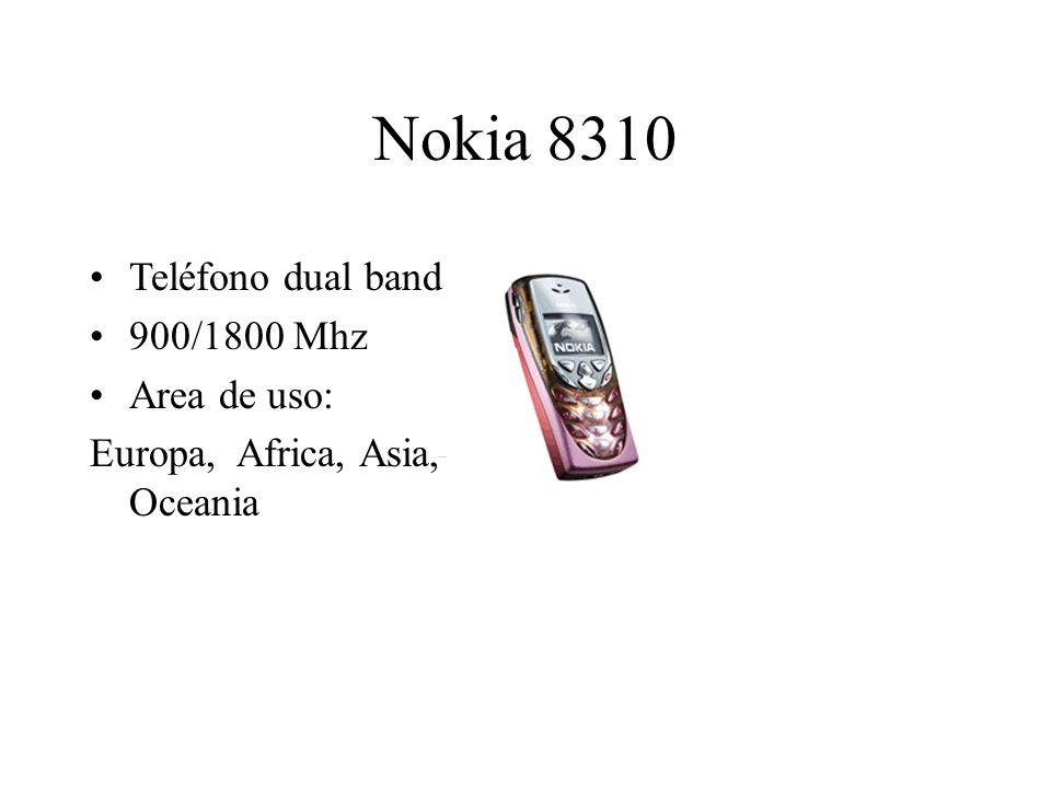 Nokia 8310 Teléfono dual band 900/1800 Mhz Area de uso: Europa, Africa, Asia, Oceania