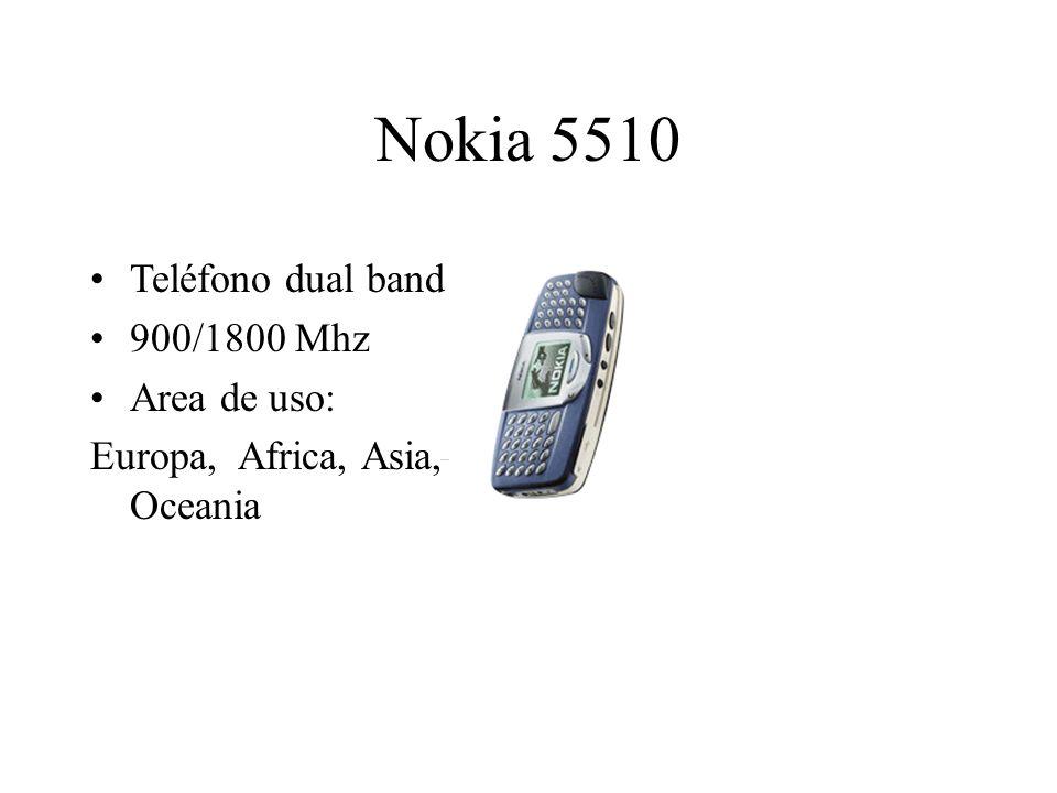 Nokia 5510 Teléfono dual band 900/1800 Mhz Area de uso: Europa, Africa, Asia, Oceania