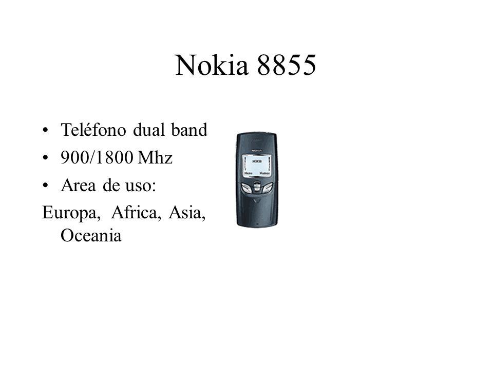Nokia 8855 Teléfono dual band 900/1800 Mhz Area de uso: Europa, Africa, Asia, Oceania