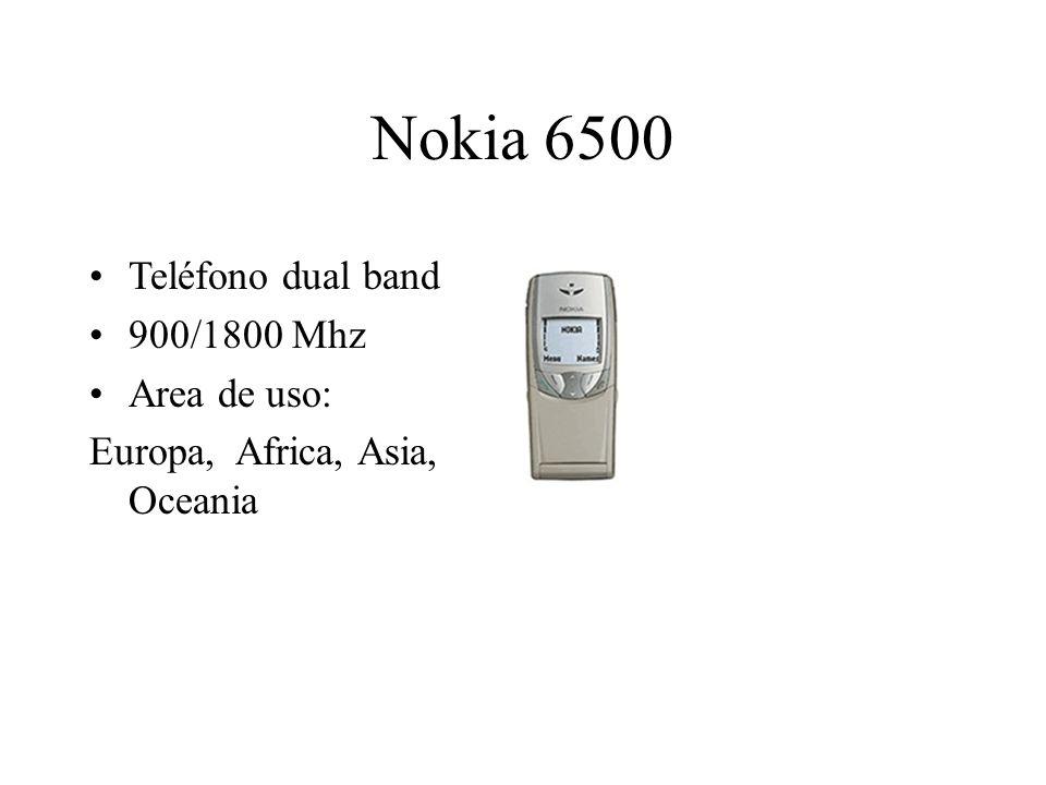 Nokia 6500 Teléfono dual band 900/1800 Mhz Area de uso: Europa, Africa, Asia, Oceania
