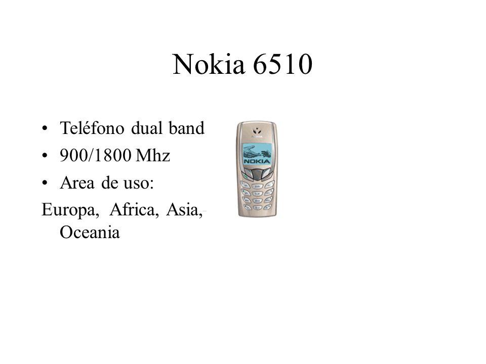 Nokia 6510 Teléfono dual band 900/1800 Mhz Area de uso: Europa, Africa, Asia, Oceania