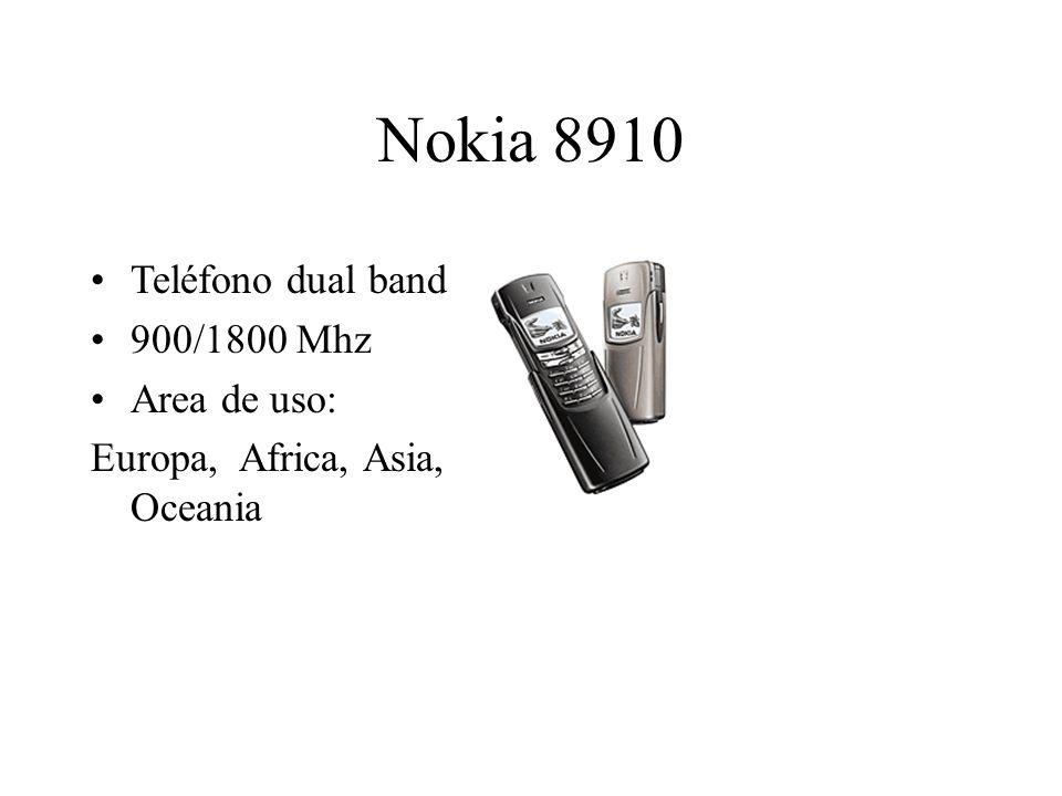 Nokia 8910 Teléfono dual band 900/1800 Mhz Area de uso: Europa, Africa, Asia, Oceania