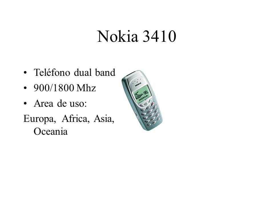 Nokia 3410 Teléfono dual band 900/1800 Mhz Area de uso: Europa, Africa, Asia, Oceania