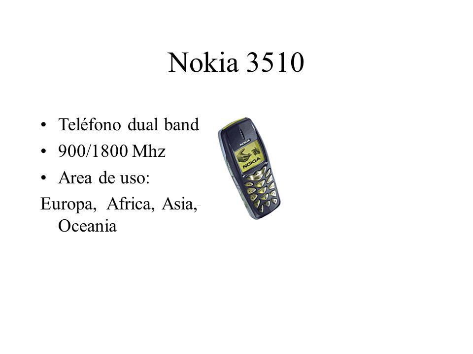 Nokia 3510 Teléfono dual band 900/1800 Mhz Area de uso: Europa, Africa, Asia, Oceania